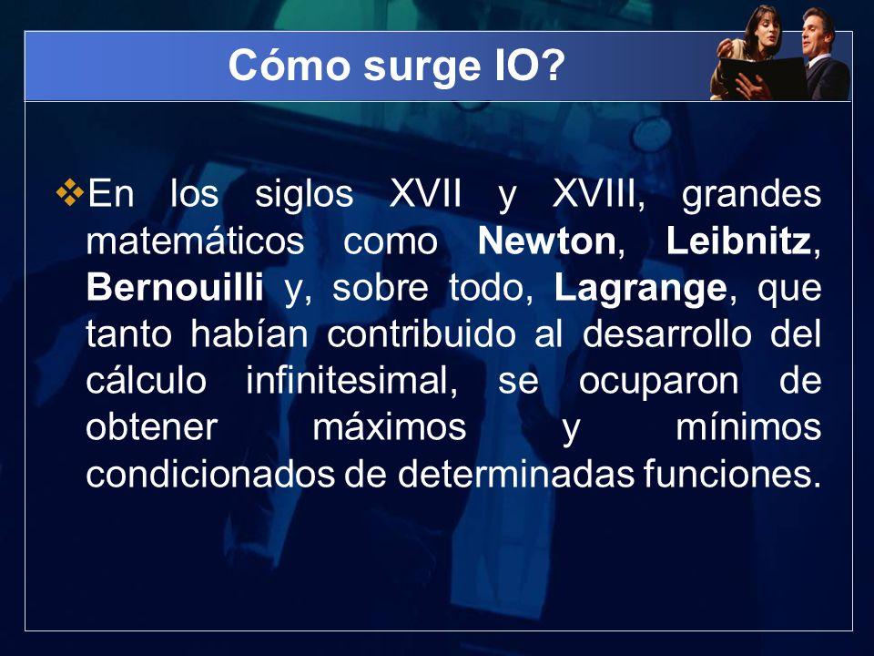 Cómo surge IO? En los siglos XVII y XVIII, grandes matemáticos como Newton, Leibnitz, Bernouilli y, sobre todo, Lagrange, que tanto habían contribuido