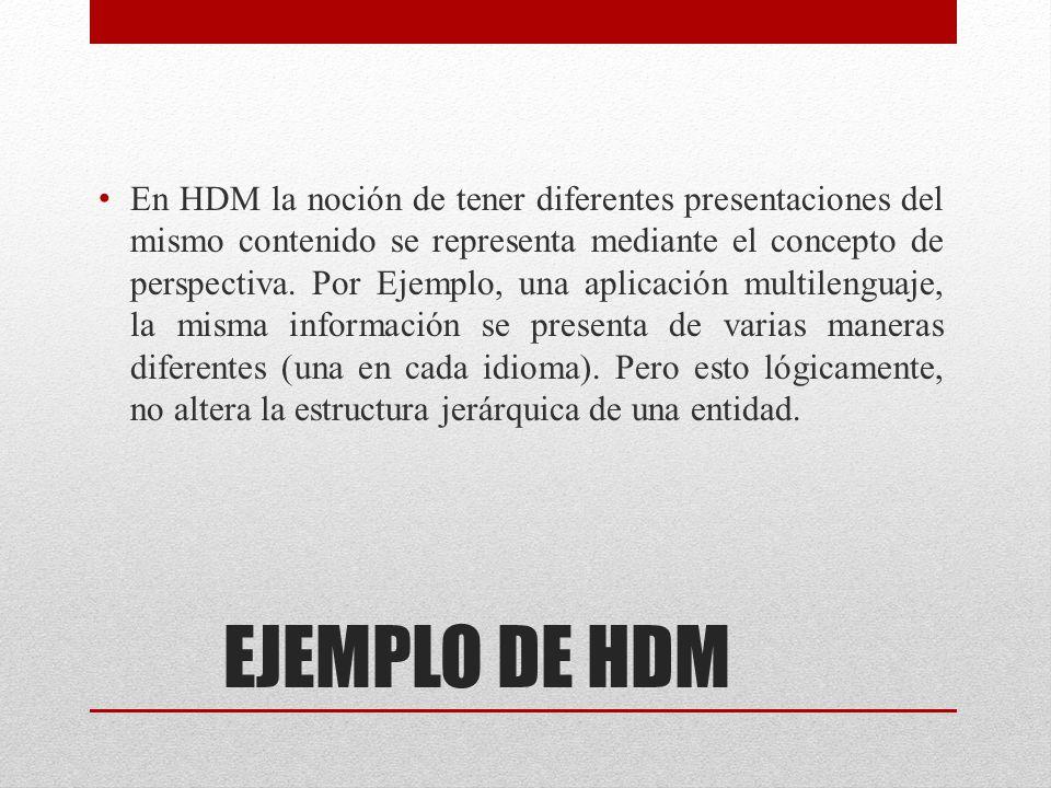 EJEMPLO DE HDM En HDM la noción de tener diferentes presentaciones del mismo contenido se representa mediante el concepto de perspectiva. Por Ejemplo,