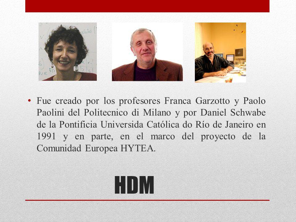 HDM Fue creado por los profesores Franca Garzotto y Paolo Paolini del Politecnico di Milano y por Daniel Schwabe de la Pontificia Universida Católica
