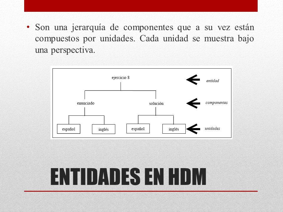 ENTIDADES EN HDM Son una jerarquía de componentes que a su vez están compuestos por unidades. Cada unidad se muestra bajo una perspectiva.