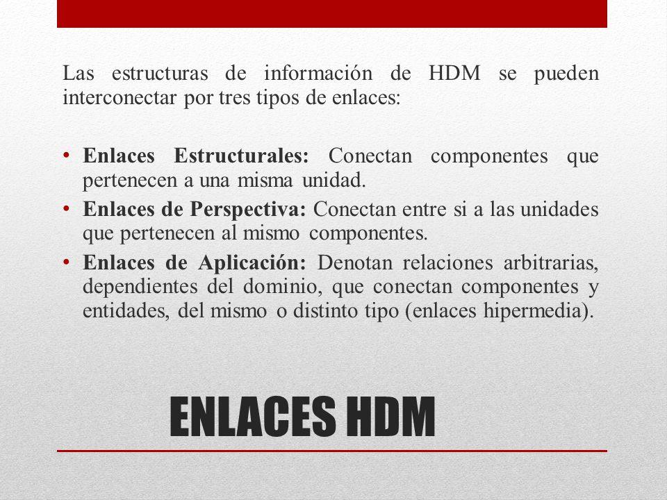 ENLACES HDM Las estructuras de información de HDM se pueden interconectar por tres tipos de enlaces: Enlaces Estructurales: Conectan componentes que p