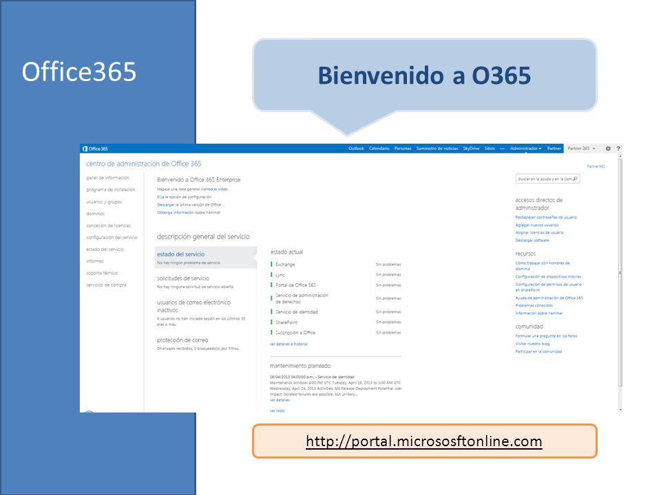 Office365 Bienvenido a O365 http://portal.micrososftonline.com