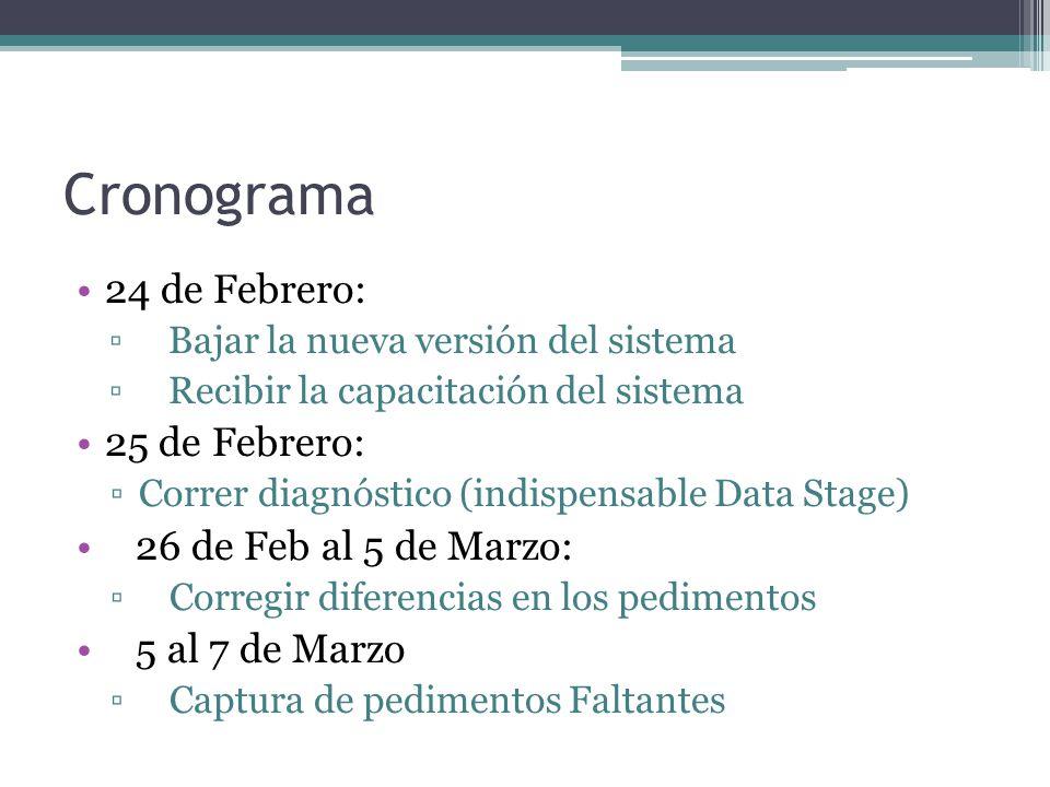 Cronograma 24 de Febrero: Bajar la nueva versión del sistema Recibir la capacitación del sistema 25 de Febrero: Correr diagnóstico (indispensable Data