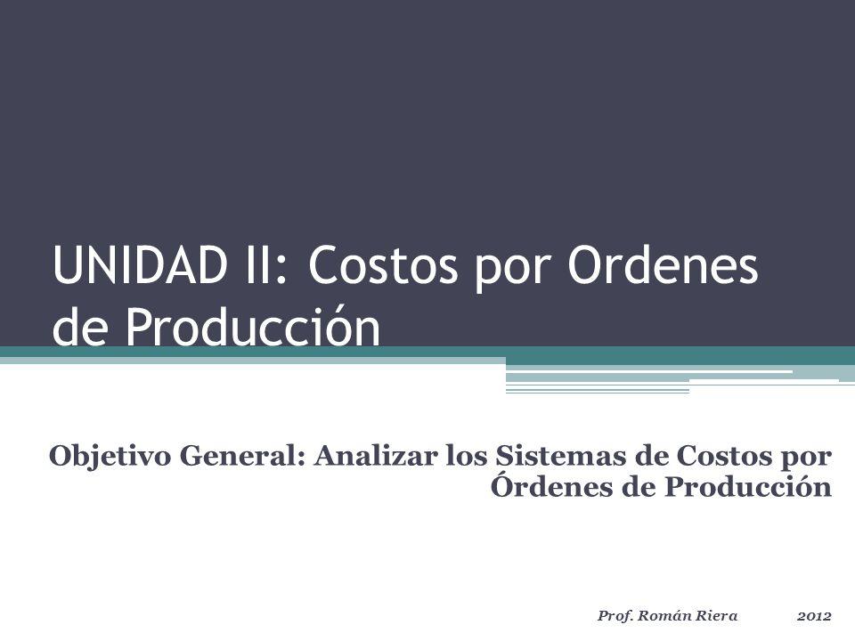 UNIDAD II: Costos por Órdenes de Producción Sistemas de Costos.