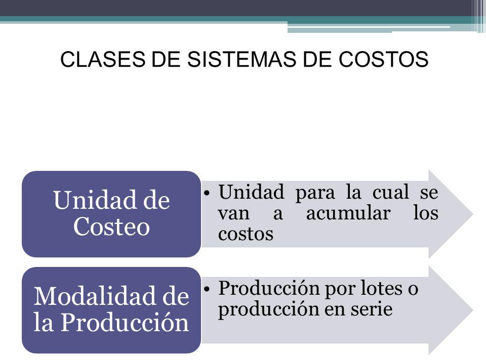 Sistema de costos por órdenes de producción: Características La unidad de costeo es un grupo o lote de productos iguales La fabricación de cada lote se desprende mediante una Orden de Producción Los costos se acumulan para cada orden de producción por separado.