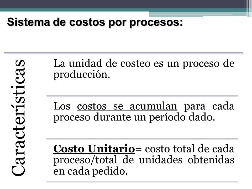 Sistema de costos por procesos: Características Costo total= costos unitarios en los procesos por donde haya pasado en artículo.