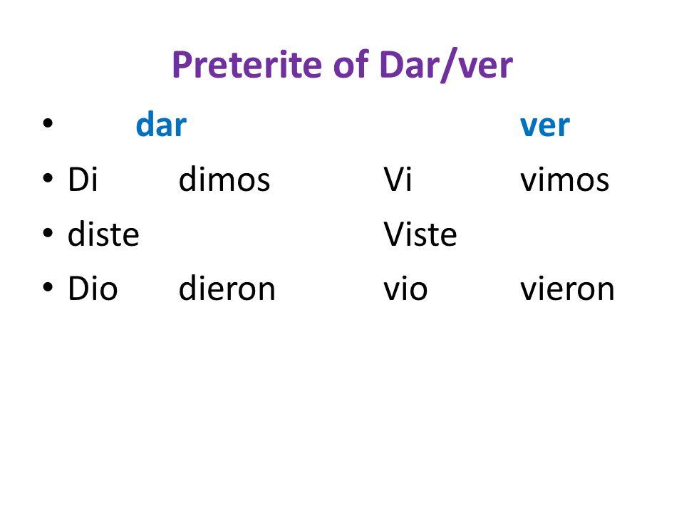 Preterite of Dar/ver darver DidimosVivimos disteViste Diodieronviovieron