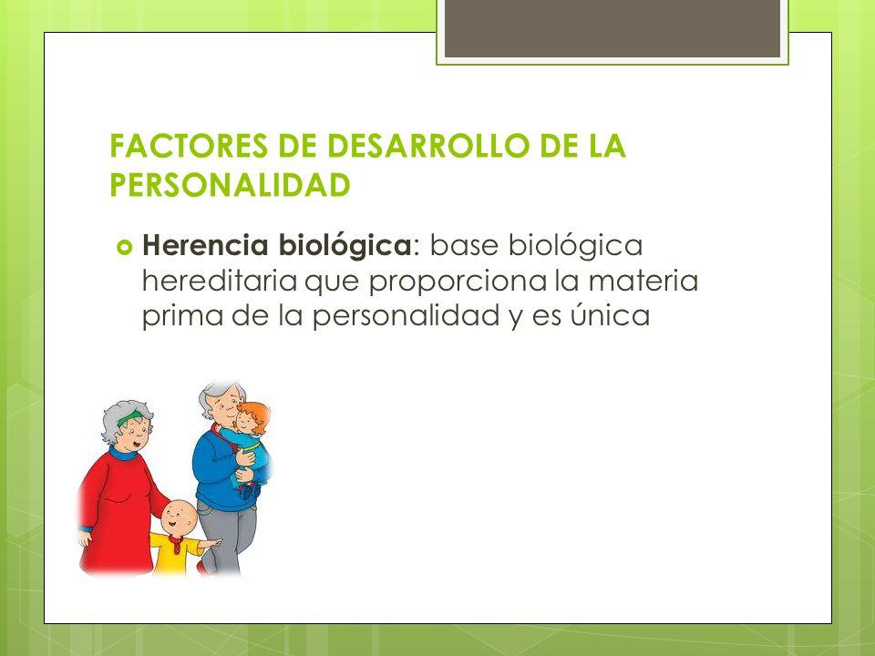 FACTORES DE DESARROLLO DE LA PERSONALIDAD Herencia biológica : base biológica hereditaria que proporciona la materia prima de la personalidad y es úni