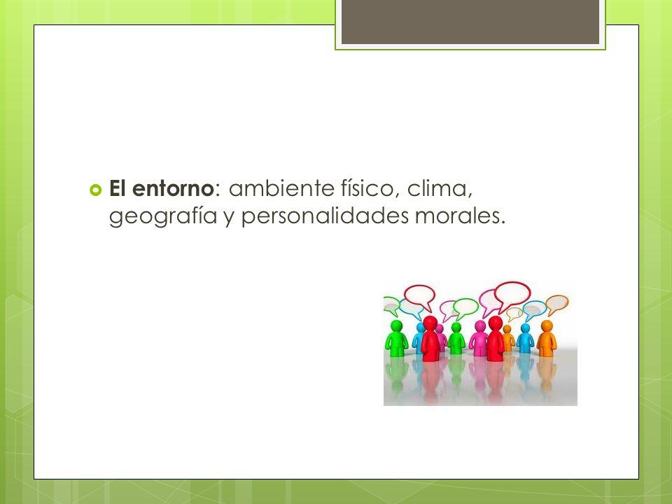El entorno : ambiente físico, clima, geografía y personalidades morales.