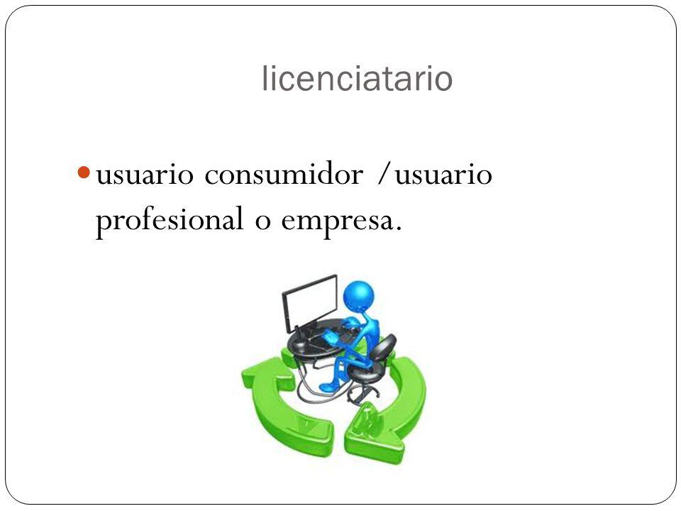 licenciatario usuario consumidor /usuario profesional o empresa.