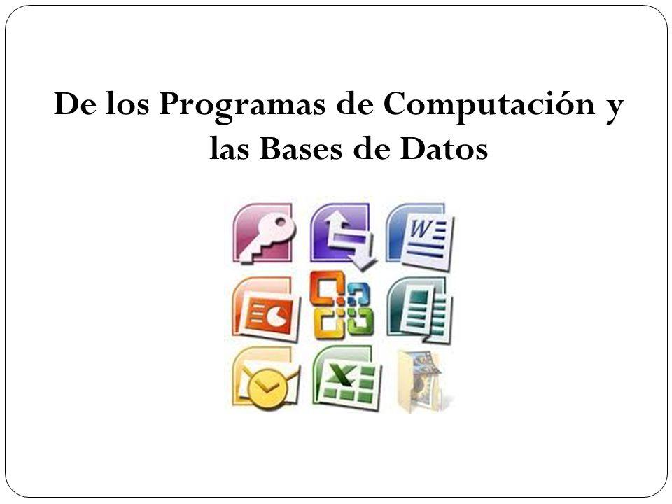 De los Programas de Computación y las Bases de Datos