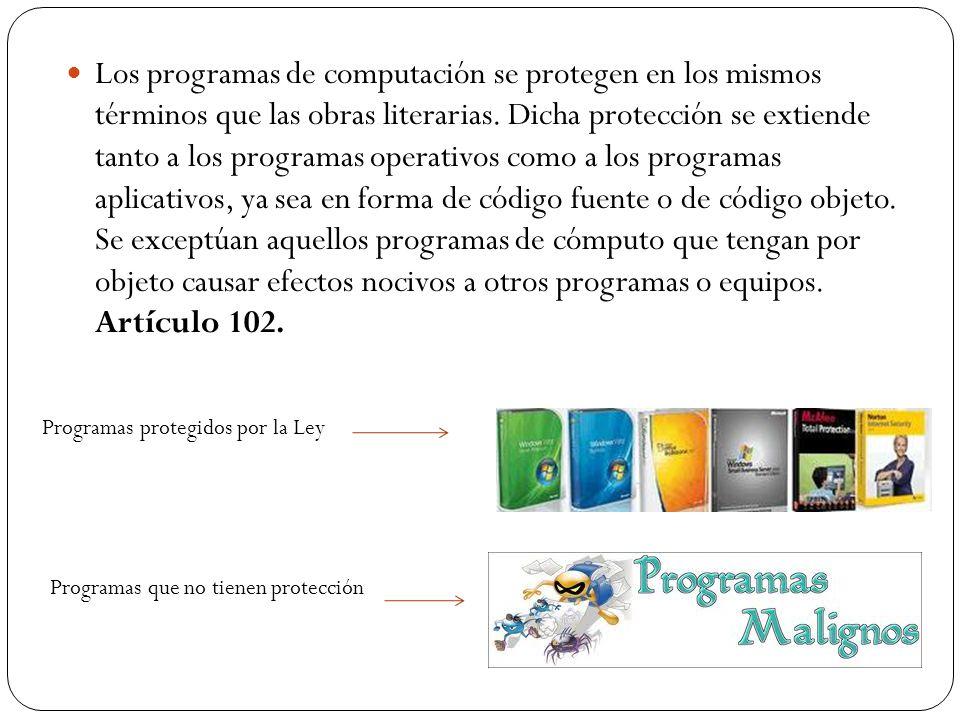Los programas de computación se protegen en los mismos términos que las obras literarias. Dicha protección se extiende tanto a los programas operativo