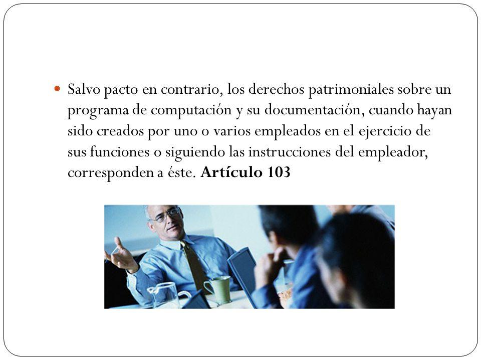 Salvo pacto en contrario, los derechos patrimoniales sobre un programa de computación y su documentación, cuando hayan sido creados por uno o varios e