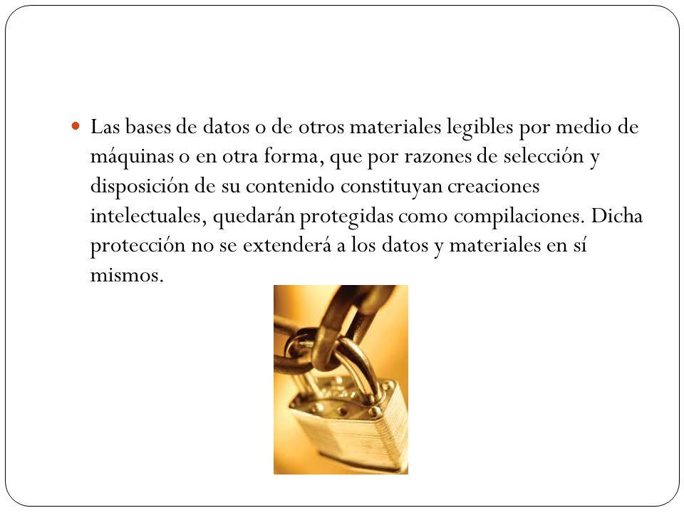 Las bases de datos o de otros materiales legibles por medio de máquinas o en otra forma, que por razones de selección y disposición de su contenido co
