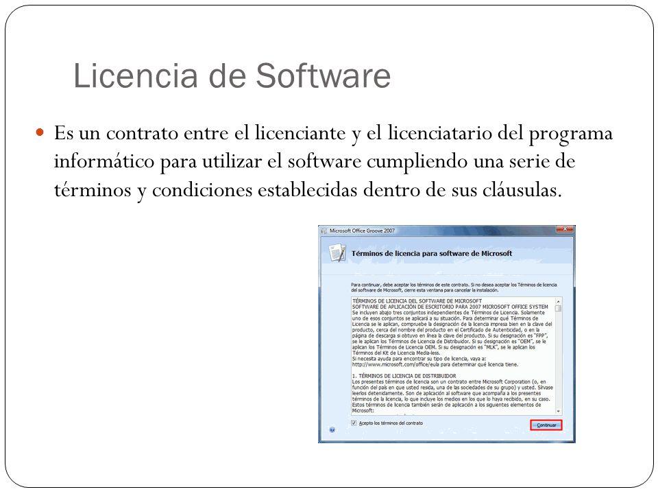 Licencia de Software Es un contrato entre el licenciante y el licenciatario del programa informático para utilizar el software cumpliendo una serie de