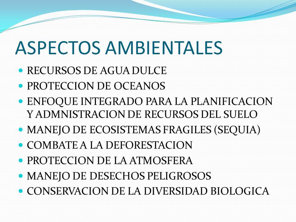 ASPECTOS AMBIENTALES RECURSOS DE AGUA DULCE PROTECCION DE OCEANOS ENFOQUE INTEGRADO PARA LA PLANIFICACION Y ADMNISTRACION DE RECURSOS DEL SUELO MANEJO