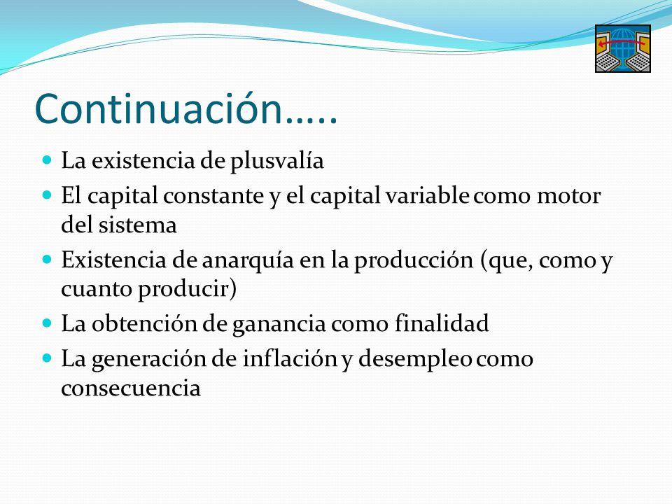 Continuación….. La existencia de plusvalía El capital constante y el capital variable como motor del sistema Existencia de anarquía en la producción (