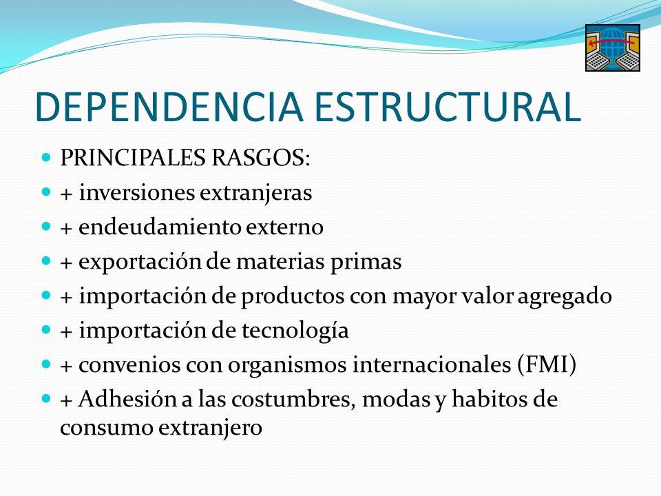 DEPENDENCIA ESTRUCTURAL PRINCIPALES RASGOS: + inversiones extranjeras + endeudamiento externo + exportación de materias primas + importación de produc