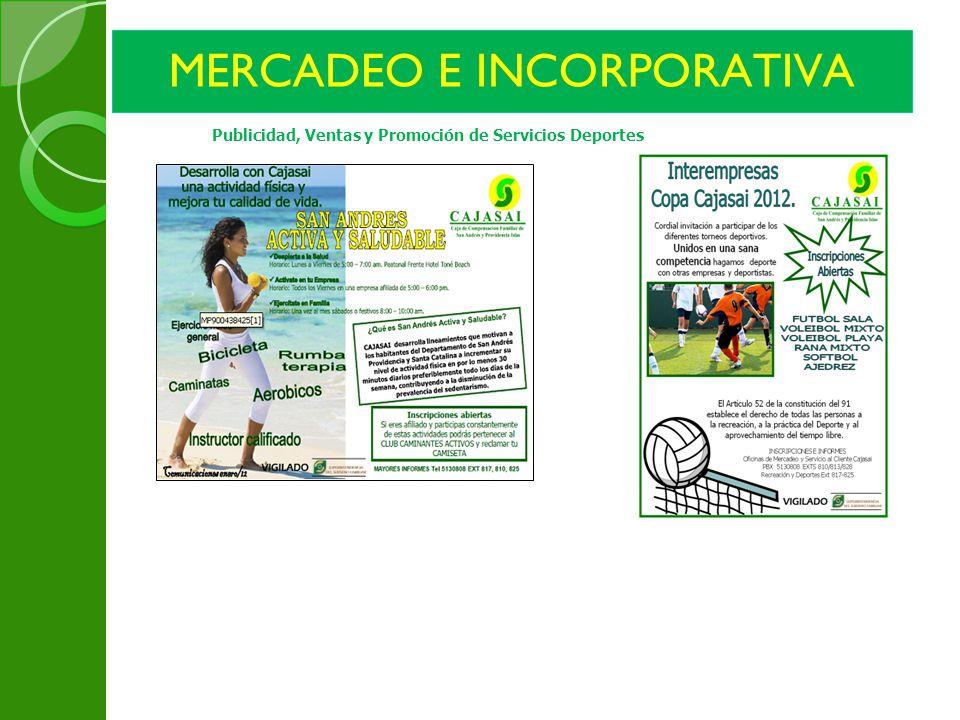 MERCADEO E INCORPORATIVA Publicidad, Ventas y Promoción de Servicios Deportes