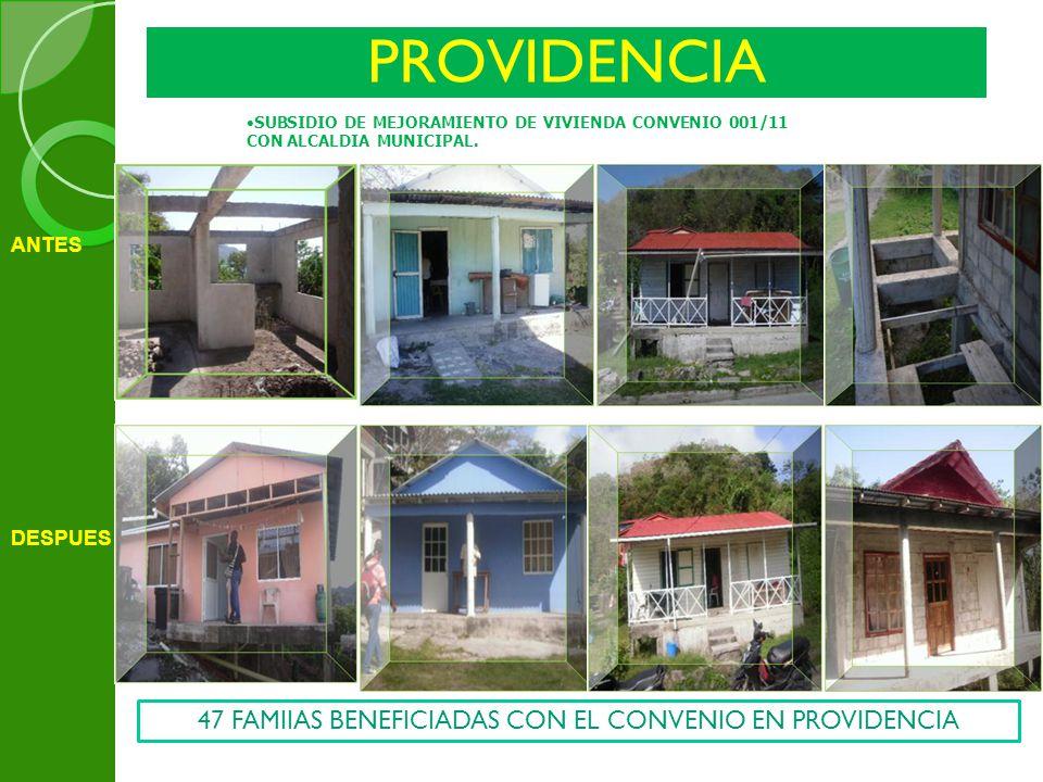 PROVIDENCIA SUBSIDIO DE MEJORAMIENTO DE VIVIENDA CONVENIO 001/11 CON ALCALDIA MUNICIPAL. ANTES DESPUES 47 FAMIIAS BENEFICIADAS CON EL CONVENIO EN PROV