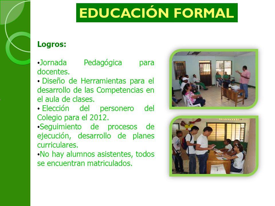 Logros: Jornada Pedagógica para docentes. Diseño de Herramientas para el desarrollo de las Competencias en el aula de clases. Elección del personero d