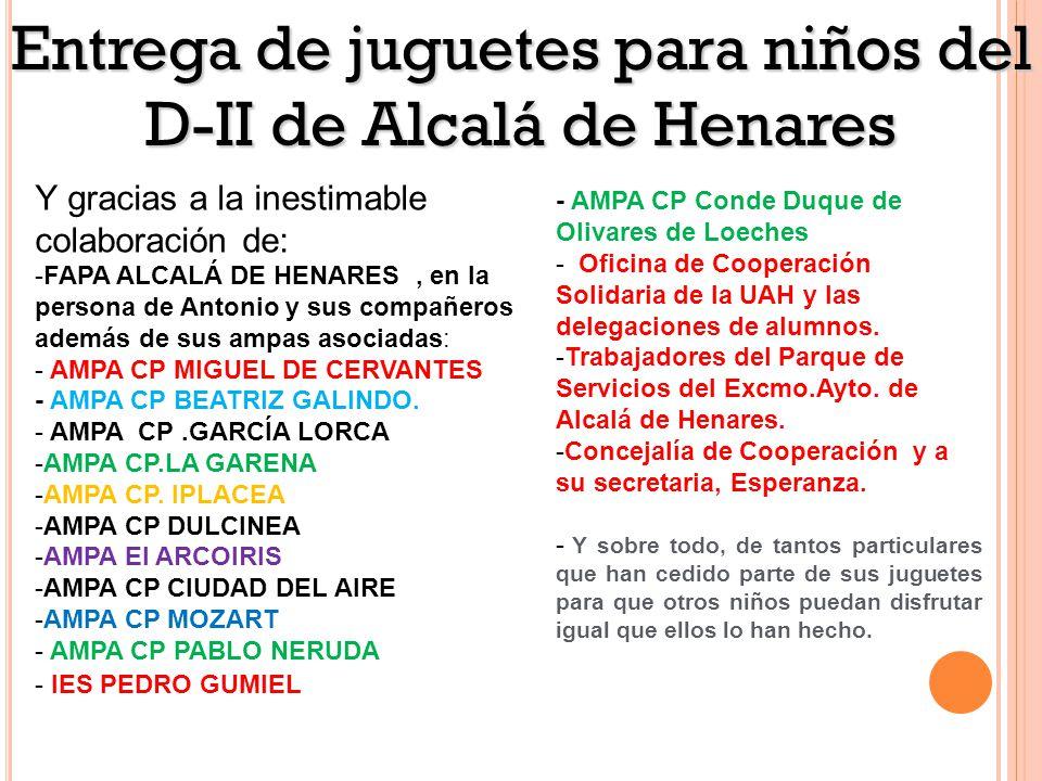 Y gracias a la inestimable colaboración de: -FAPA ALCALÁ DE HENARES, en la persona de Antonio y sus compañeros además de sus ampas asociadas: - AMPA CP MIGUEL DE CERVANTES - AMPA CP BEATRIZ GALINDO.