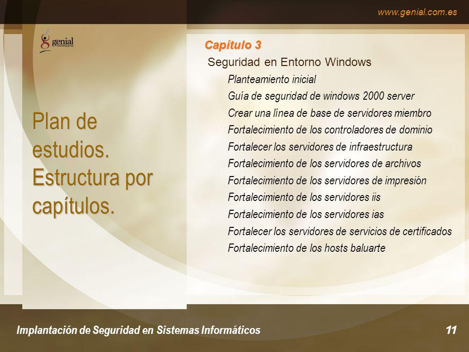 www.genial.com.es Implantación de Seguridad en Sistemas Informáticos11 Plan de estudios.