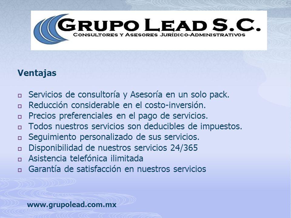 Ventajas Servicios de consultoría y Asesoría en un solo pack.