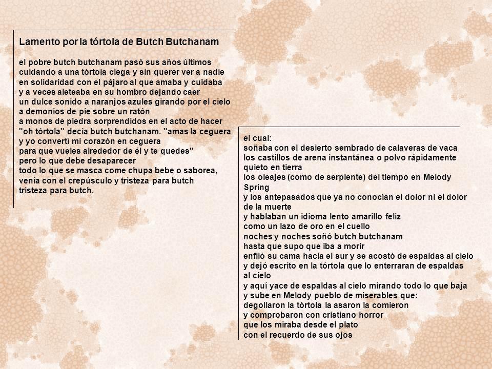 Lamento por la tórtola de Butch Butchanam el pobre butch butchanam pasó sus años últimos cuidando a una tórtola ciega y sin querer ver a nadie en soli