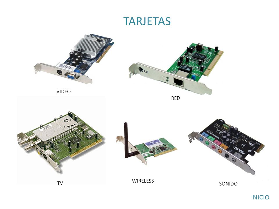 TARJETAS RED TV WIRELESS SONIDO VIDEO INICIO
