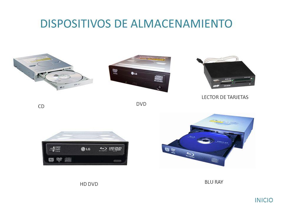 DISPOSITIVOS DE ALMACENAMIENTO CD DVD HD DVD BLU RAY LECTOR DE TARJETAS INICIO