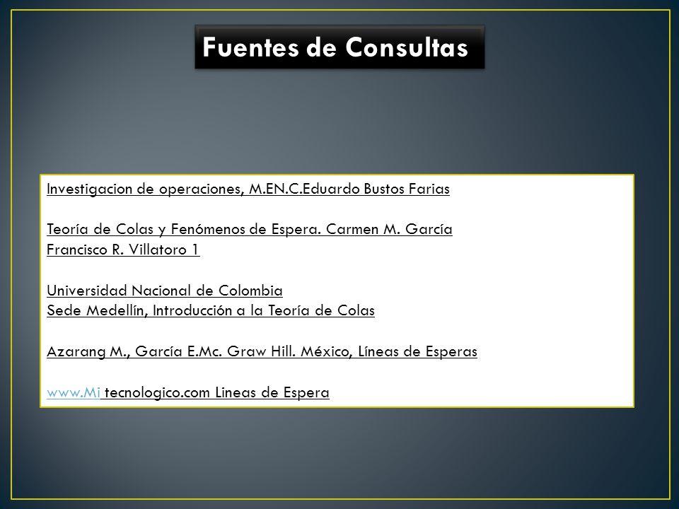 Fuentes de Consultas Investigacion de operaciones, M.EN.C.Eduardo Bustos Farias Teoría de Colas y Fenómenos de Espera. Carmen M. García Francisco R. V