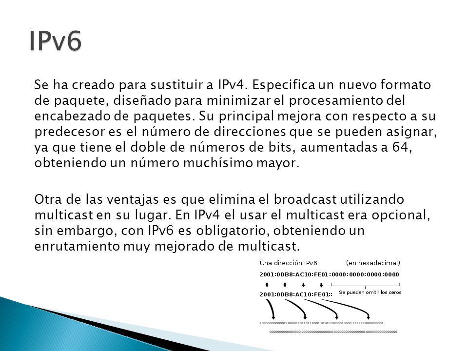 Se ha creado para sustituir a IPv4.
