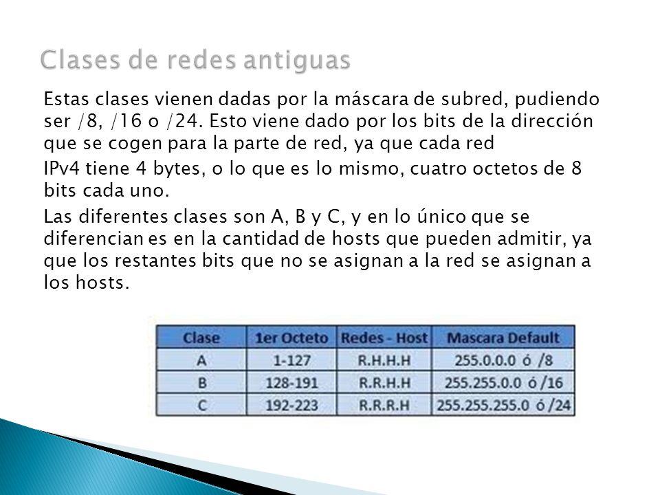 Estas clases vienen dadas por la máscara de subred, pudiendo ser /8, /16 o /24.