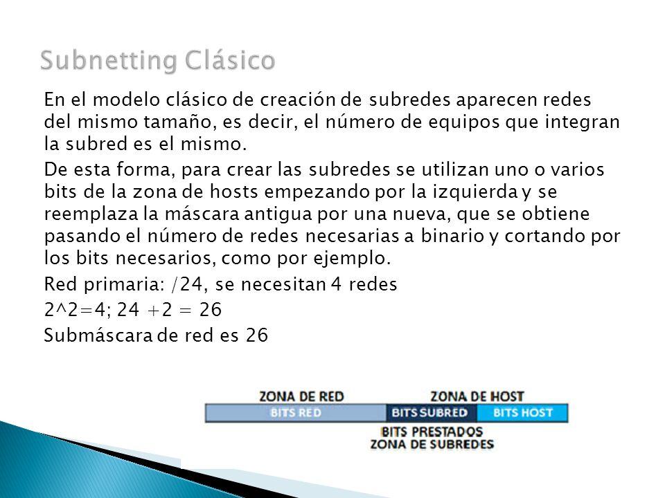 En el modelo clásico de creación de subredes aparecen redes del mismo tamaño, es decir, el número de equipos que integran la subred es el mismo.