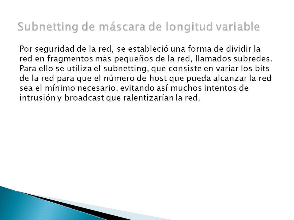 Por seguridad de la red, se estableció una forma de dividir la red en fragmentos más pequeños de la red, llamados subredes.