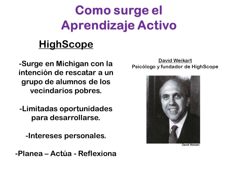 Como surge el Aprendizaje Activo David Weikart Psicólogo y fundador de HighScope HighScope -Surge en Michigan con la intención de rescatar a un grupo