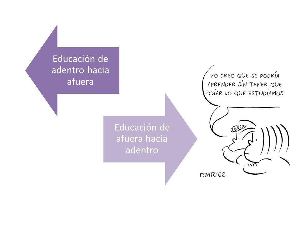 Educación de adentro hacia afuera Educación de afuera hacia adentro