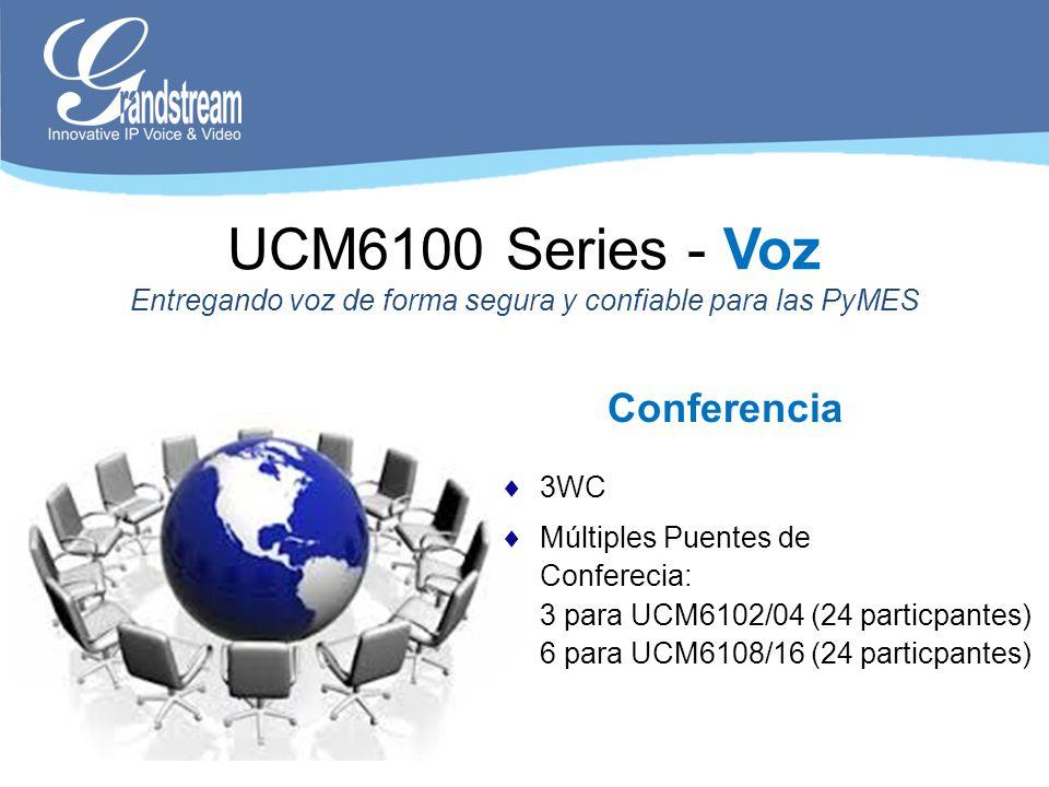Conferencia UCM6100 Series - Voz Entregando voz de forma segura y confiable para las PyMES 3WC Múltiples Puentes de Conferecia: 3 para UCM6102/04 (24