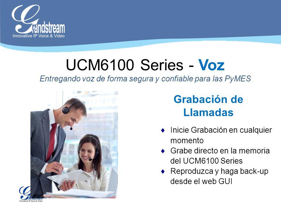 Grabación de Llamadas Inicie Grabación en cualquier momento Grabe directo en la memoria del UCM6100 Series Reproduzca y haga back-up desde el web GUI