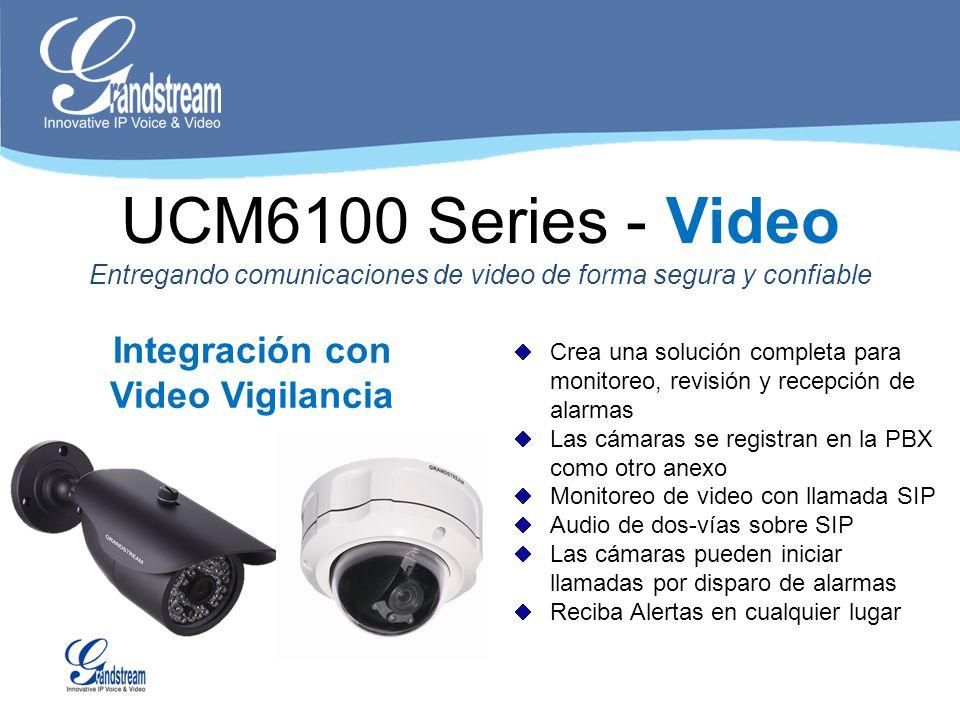 Integración con Video Vigilancia Crea una solución completa para monitoreo, revisión y recepción de alarmas Las cámaras se registran en la PBX como ot