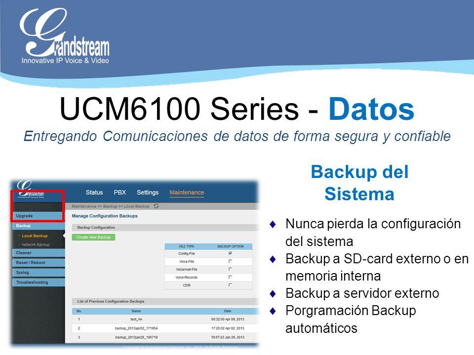 Nunca pierda la configuración del sistema Backup a SD-card externo o en memoria interna Backup a servidor externo Porgramación Backup automáticos Back