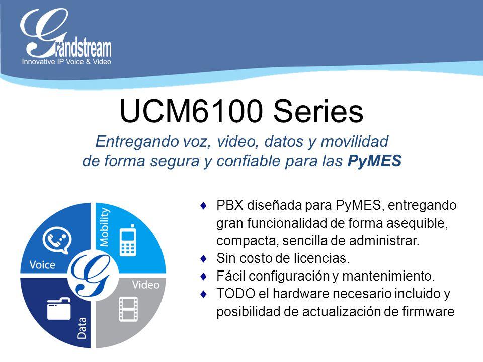 Especificaciones Generales Hasta 500 extensiones Hasta 30 (ucm6102/04) o 60 (UCM6108/16) llamadas concurrentes Puertos FXO: 2 (UCM6102) 4 (UCM6104) 8 (UCM6108) 16 (UCM6116) Puerto Gigabit con PoE Conferencia de hasta 32 participantes Auto-configuración de terminales Simple configuración y administración via Web GUI Asterisk is a Registered Trademark of Digium