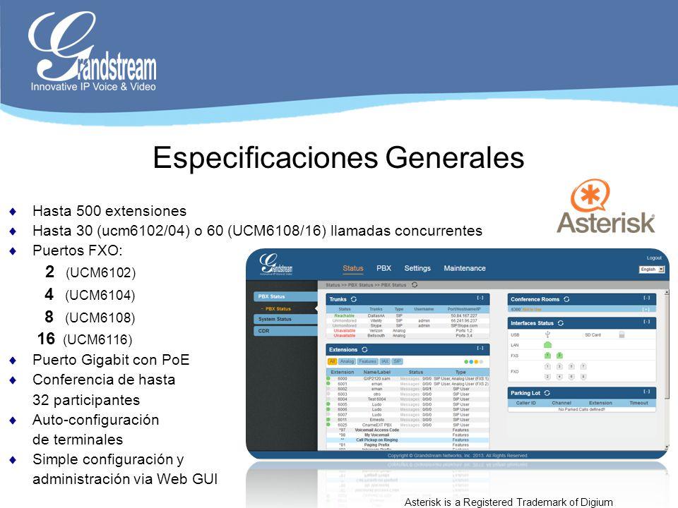Especificaciones Generales Hasta 500 extensiones Hasta 30 (ucm6102/04) o 60 (UCM6108/16) llamadas concurrentes Puertos FXO: 2 (UCM6102) 4 (UCM6104) 8