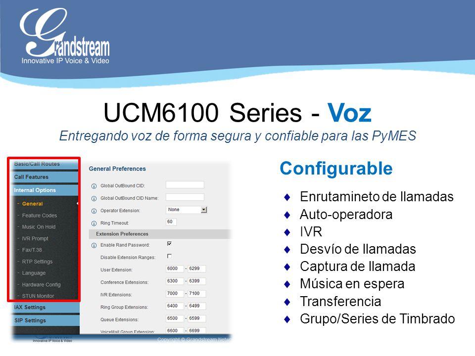 Conferencia UCM6100 Series - Voz Entregando voz de forma segura y confiable para las PyMES 3WC Múltiples Puentes de Conferecia: 3 para UCM6102/04 (24 particpantes) 6 para UCM6108/16 (24 particpantes)