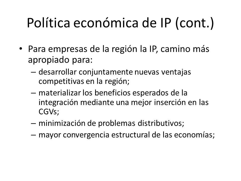 Política económica de IP (cont.) Para empresas de la región la IP, camino más apropiado para: – desarrollar conjuntamente nuevas ventajas competitivas