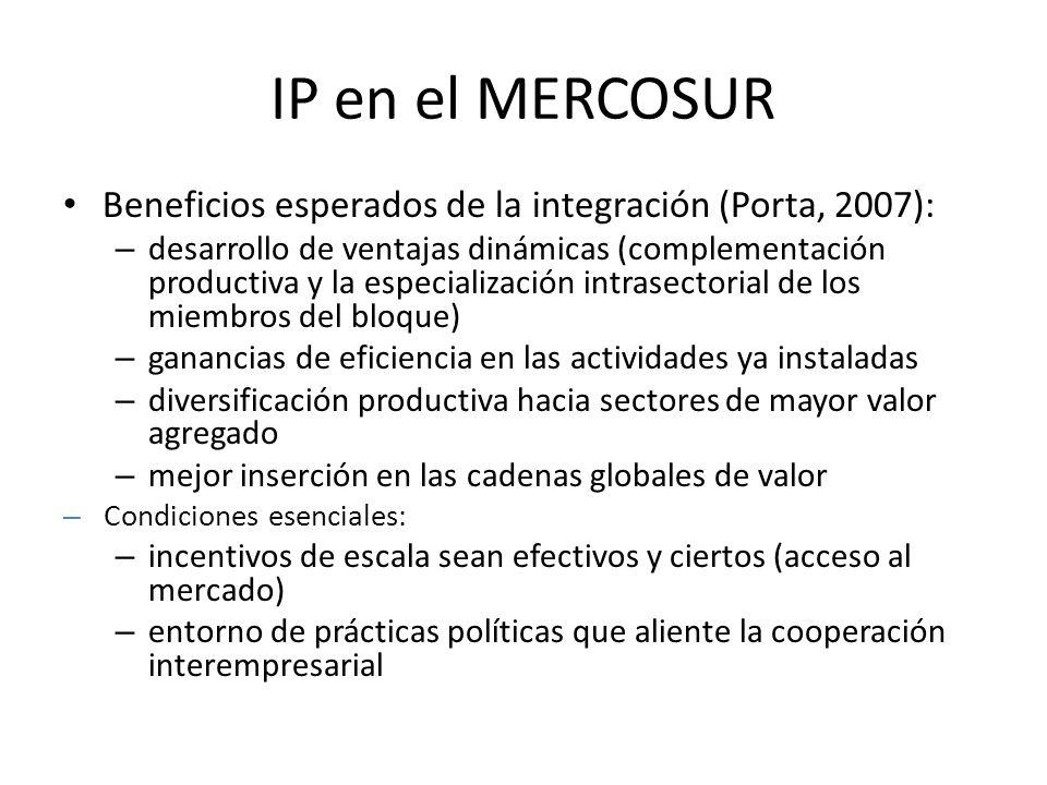 IP en el MERCOSUR Beneficios esperados de la integración (Porta, 2007): – desarrollo de ventajas dinámicas (complementación productiva y la especializ