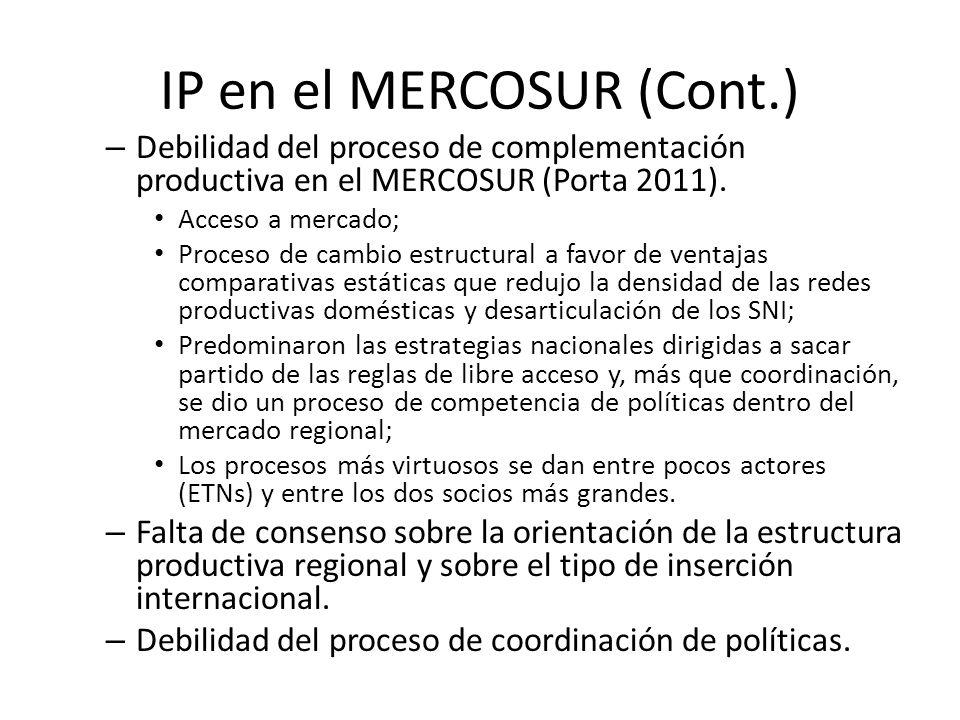 – Debilidad del proceso de complementación productiva en el MERCOSUR (Porta 2011). Acceso a mercado; Proceso de cambio estructural a favor de ventajas