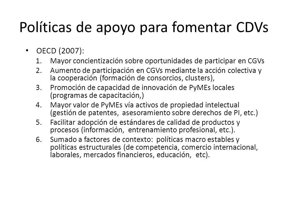 Políticas de apoyo para fomentar CDVs OECD (2007): 1.Mayor concientización sobre oportunidades de participar en CGVs 2.Aumento de participación en CGV