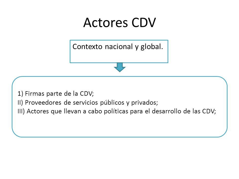 1) Firmas parte de la CDV; II) Proveedores de servicios públicos y privados; III) Actores que llevan a cabo políticas para el desarrollo de las CDV; A